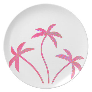 Assiettes En Mélamine Palmiers roses