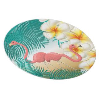 Assiettes En Mélamine Paradis tropical de plage de flamants