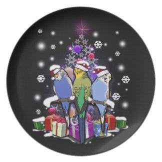 Assiettes En Mélamine Perruches avec le cadeau et les flocons de neige
