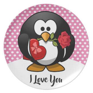 Assiettes En Mélamine Pingouin de Valentine avec du chocolat et le