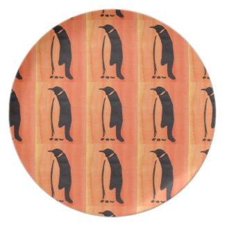 Assiettes En Mélamine Pingouin sur l'orange