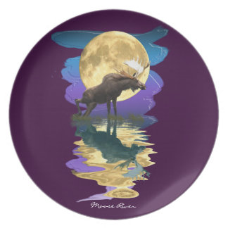 Assiettes En Mélamine Plat d'art de Faune-amant d'orignaux et de lune