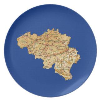 Assiettes En Mélamine Plat de carte de la Belgique