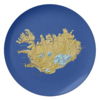Assiettes En Mélamine Plat de carte de l'Islande