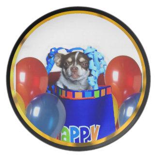 Assiettes En Mélamine Plat de dîner de chien de chiwawa d'anniversaire