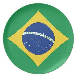 Assiettes En Mélamine Plat de drapeau du Brésil Fisheye