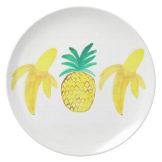Assiettes En Mélamine Plat de mélamine avec des fruits de peinture