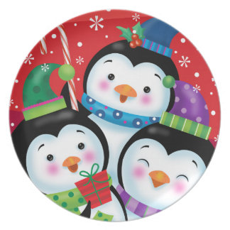 Assiettes En Mélamine Plat de Noël de trio de pingouin