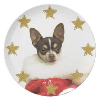 Assiettes En Mélamine Plat décoratif de chien de chiwawa de Noël
