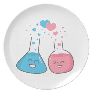 Assiettes En Mélamine Plat mignon de chimie d'amour de flacons de