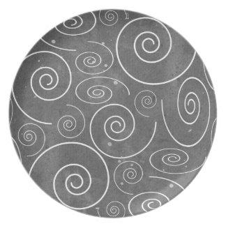 Assiettes En Mélamine Plat noir et blanc gothique de spirales de remous