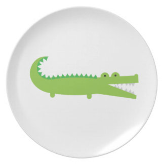 Assiettes En Mélamine Plat vert mignon de mélamine d'alligator