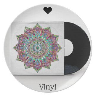Assiettes En Mélamine Rétro disque vinyle et douille psychédélique de