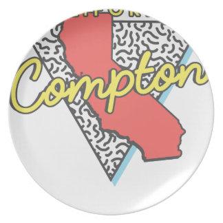 Assiettes En Mélamine Rétro souvenir de Compton la Californie
