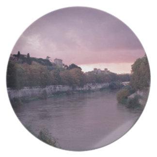 Assiettes En Mélamine Rivière du Tibre au coucher du soleil TWurl