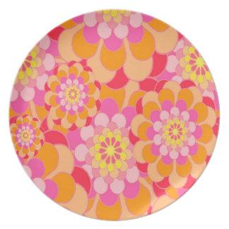 Assiettes En Mélamine Rose abstrait de conception floral