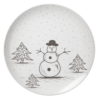Assiettes En Mélamine snowman2