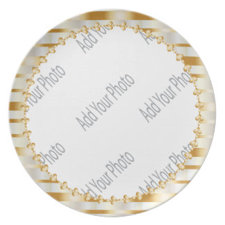 Assiettes En Mélamine Souvenir élégant décoratif de blanc et d'or