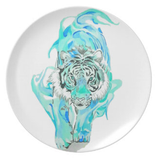 Assiettes En Mélamine tigre bleu