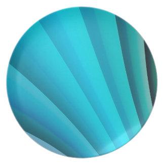 Assiettes En Mélamine Vague bleu-clair d'art abstrait