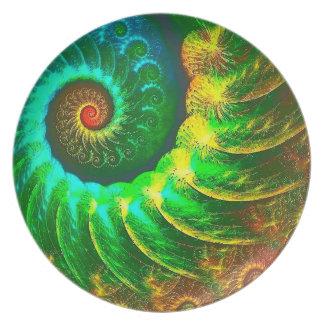 Assiettes En Mélamine Vert d'art d'abstraction et mouvement giratoire de