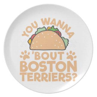 Assiettes En Mélamine Vous voulez aux terriers de Boston d'accès de taco