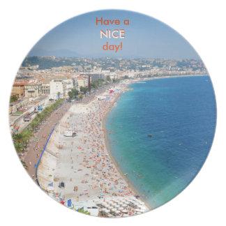 Assiettes En Mélamine Vue aérienne de plage à Nice, France