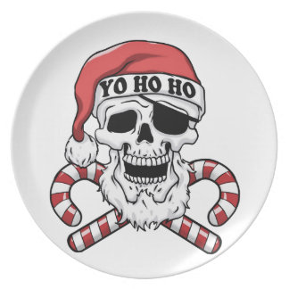 Assiettes En Mélamine Yo ho ho - pirate père Noël - le père noël drôle