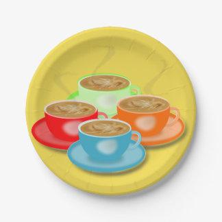 Assiettes En Papier 4 tasses de plaques à papier de café