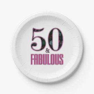 Assiettes En Papier 50 et anniversaire de typographie noire rose