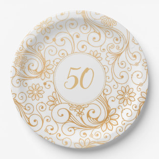 Assiettes En Papier Âge blanc de fête d'anniversaire de remous d'or