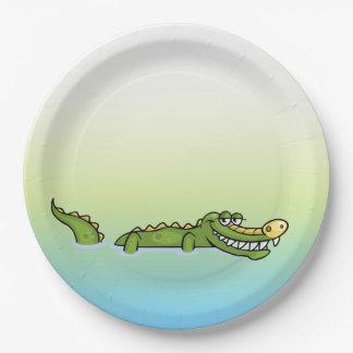 Assiettes En Papier Alligator de joyeux anniversaire