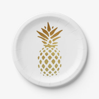 Assiettes En Papier Ananas d'or, fruit en or