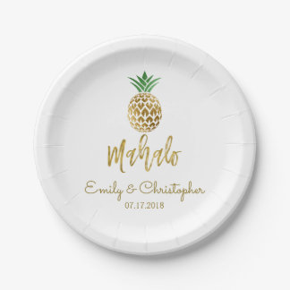 Assiettes En Papier Ananas hawaïen tropical de Mahalo épousant le