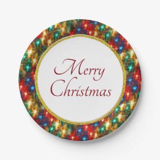 Assiettes En Papier Anneau des lumières de Noël gaies