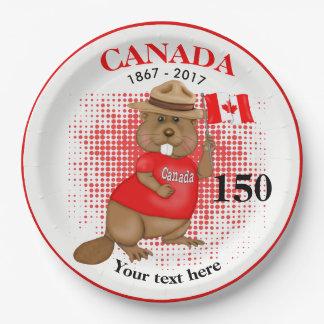 Assiettes En Papier Anniversaire fièrement canadien du castor 150