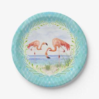Assiettes En Papier Aquarelle de pique-nique de rivage de Sandy
