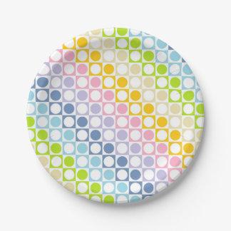 Assiettes En Papier Arc-en-ciel en pastel et carrés blancs et pois