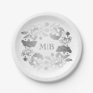 Assiettes En Papier Argent élégant et blanc de guirlande florale de