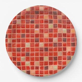 Assiettes En Papier Arrière - plan rouge de tuile de mosaïque