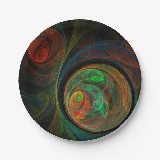 Assiettes En Papier Art abstrait vert de renaissance