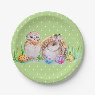 Assiettes En Papier Art de Pâques de hibou et de lapin