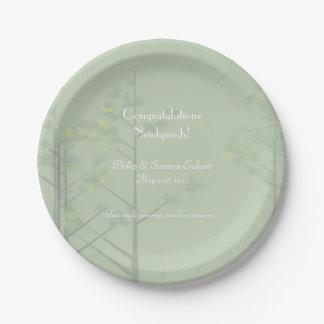 Assiettes En Papier Art élégant d'arbre de vert sauge de nouveaux