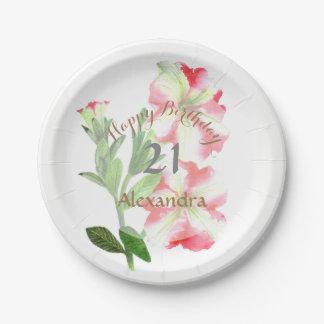 Assiettes En Papier Art floral de pétunias roses et blancs