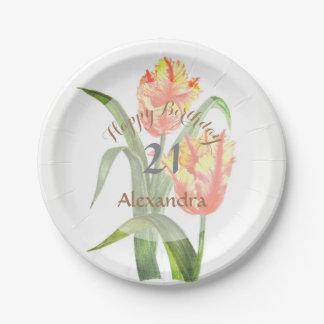 Assiettes En Papier Art floral de tulipes jaunes de perroquet
