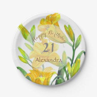 Assiettes En Papier Art floral jaune d'hémérocalles