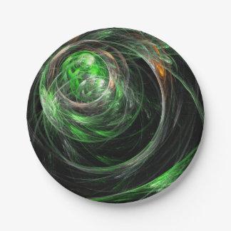 Assiettes En Papier Autour de l'art abstrait de vert du monde
