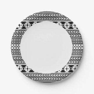 Assiettes En Papier Aztèque tribal noir et blanc