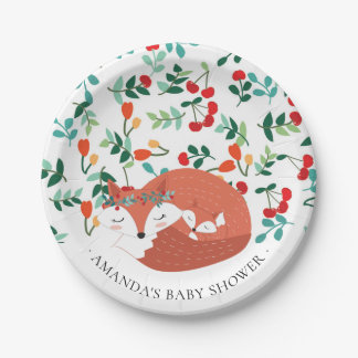 "Assiettes En Papier Baby shower 7"" de Fox de région boisée plat"