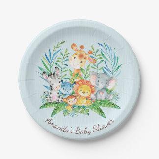 """Assiettes En Papier Baby shower 7"""" de jungle de safari de garçons plat"""